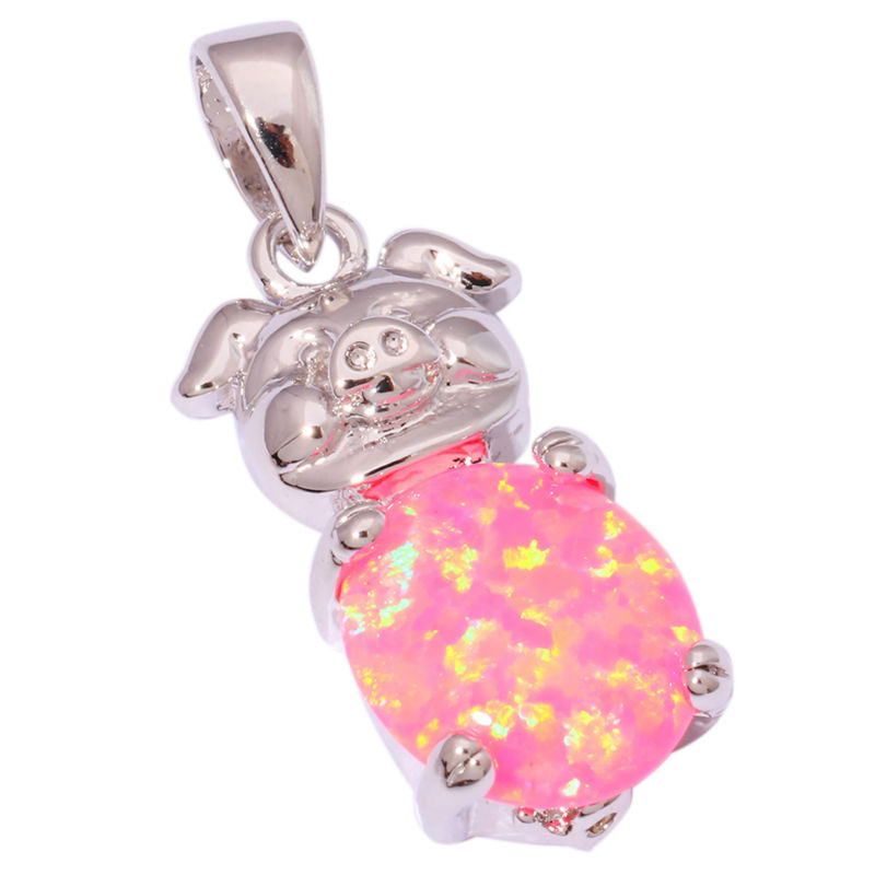 Pink fire opal silver pendants wholesale retail lovely cute pig pink fire opal silver pendants wholesale retail lovely cute pig fashion gift for women jewelry pendant aloadofball Image collections