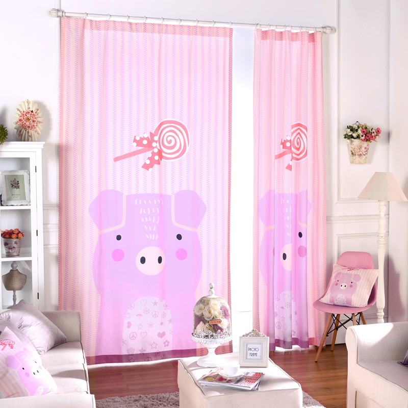 Pink Bedroom Window Curtains Princess Fabric For Curtain Panel Drapes Girls  Blind Baby Cartoon Ready Made Blinds Pig Curtain New