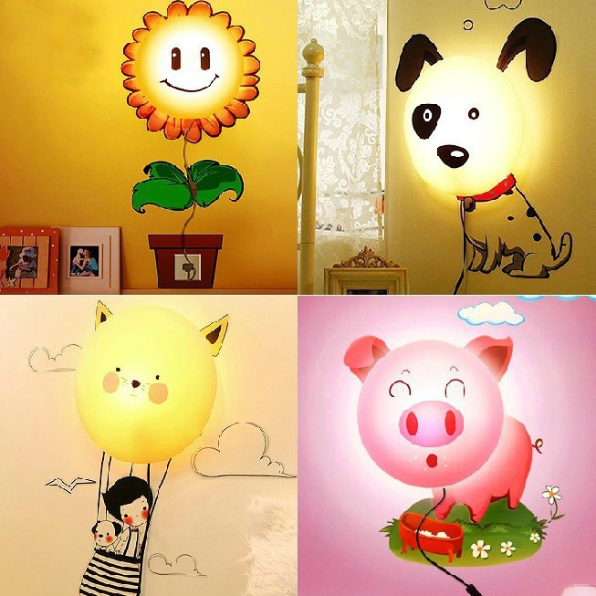 3d wall sticker lamp 220v novelty night light cartoon baby diy