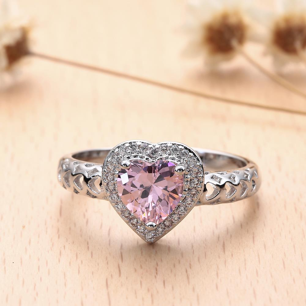 BLACK GUN romantic heart finger Rings new love pink green white cz zircon wed