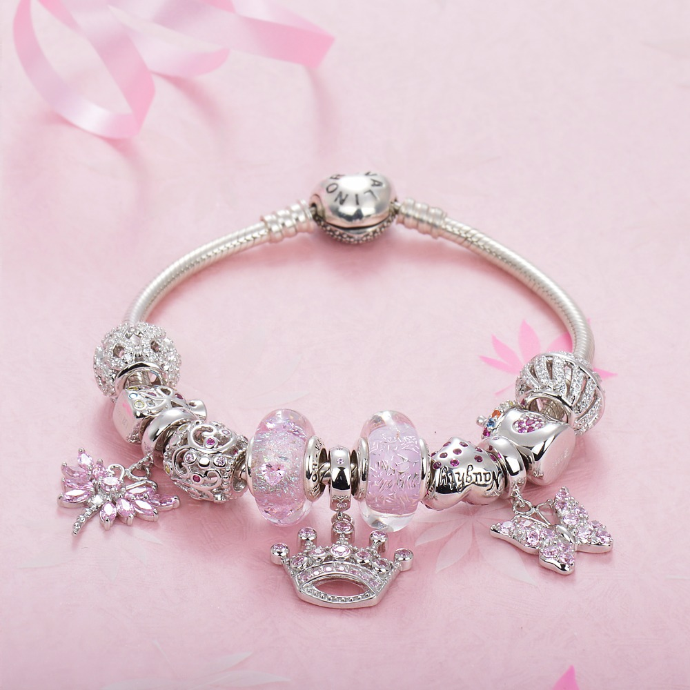 pink set of bracelets 925 sterling silver platinum plated. Black Bedroom Furniture Sets. Home Design Ideas