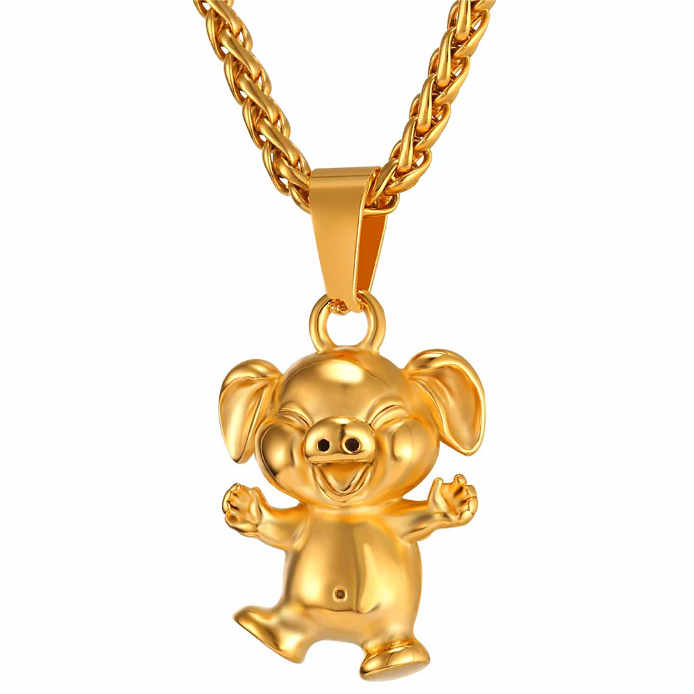 Goldblackstainless steel color piggy pendant necklace for men goldblackstainless steel color piggy pendant necklace for menwomen gift fat mozeypictures Gallery